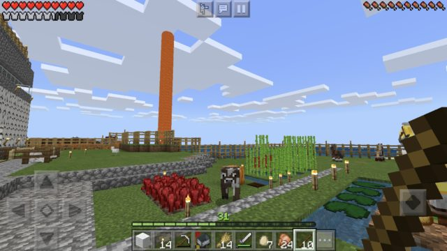 MineCraft(マインクラフト)のプレイ中画面1